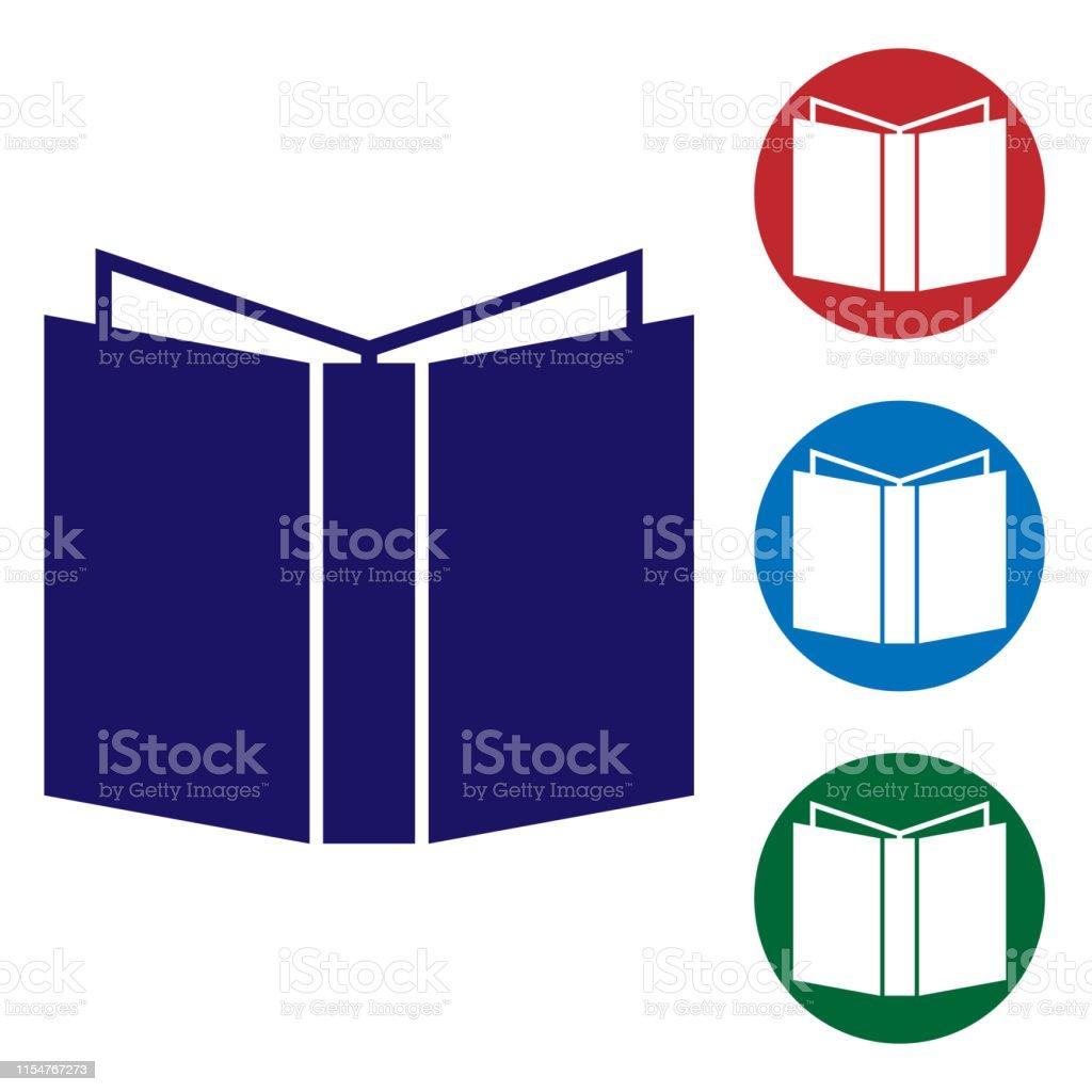 Icone De Livre Bleu Ouvert Isole Sur Fond Blanc Definissez