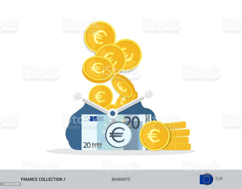 Banque Vectorielle monnaie ouvert bleu avec 20 euro billets de banque et pièces en