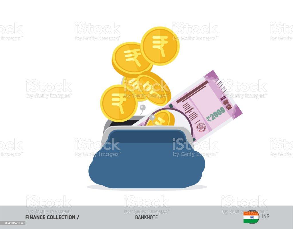 Blaue Geöffnete Geldbörse Mit 2000 Indische Rupie Banknoten Und
