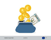 Blue opened purse with 5 Euro Banknote and coins. Flat style vector illustration. Business concept.