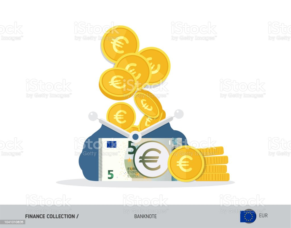 Portemonnee 5 Euro.Blauwe Geopende Portemonnee Met 5 Eurobankbiljetten En Munten Vlakke