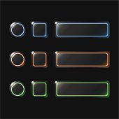 Circle square and rectangle buttons set in three color schemes.
