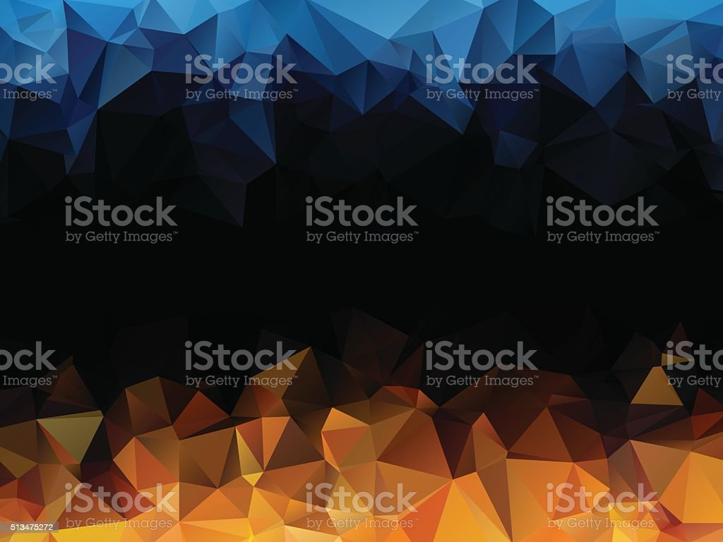 blue orange black abstract triangular background vector art illustration