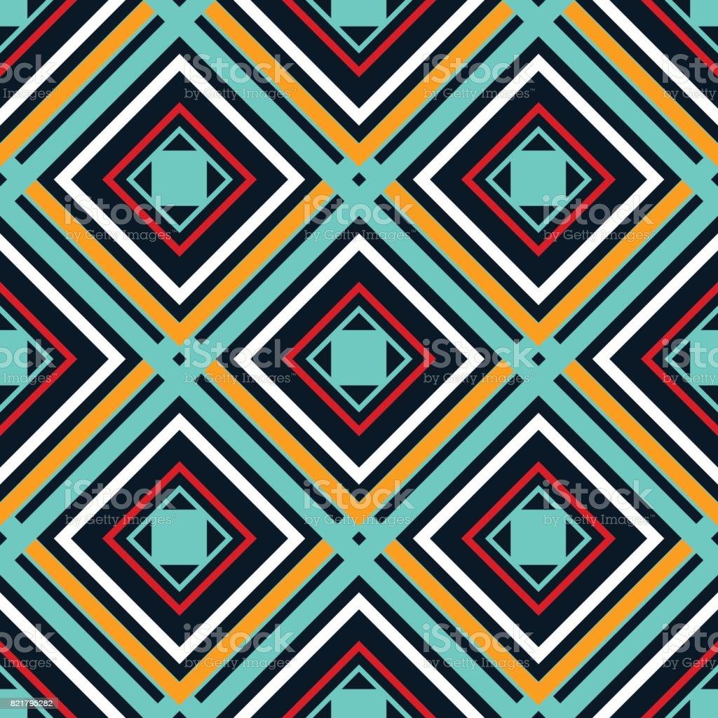 Blue orange green and white rhombuses on a dark background vector art illustration
