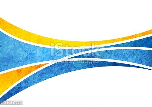 istock Blue orange grunge waves abstract background 1310847775