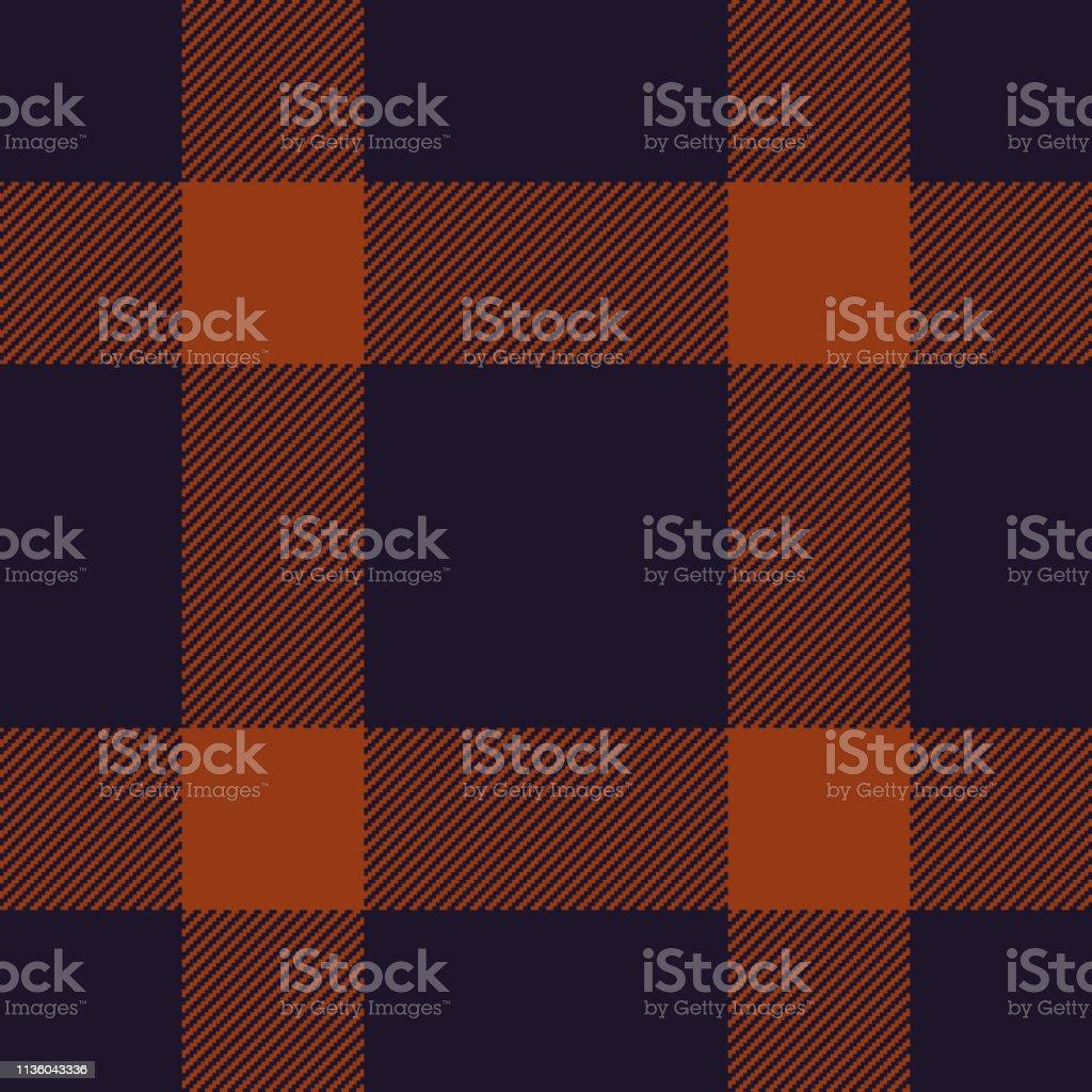 Blue & orange pixel plaid tartan check pattern vector. Gingham /...