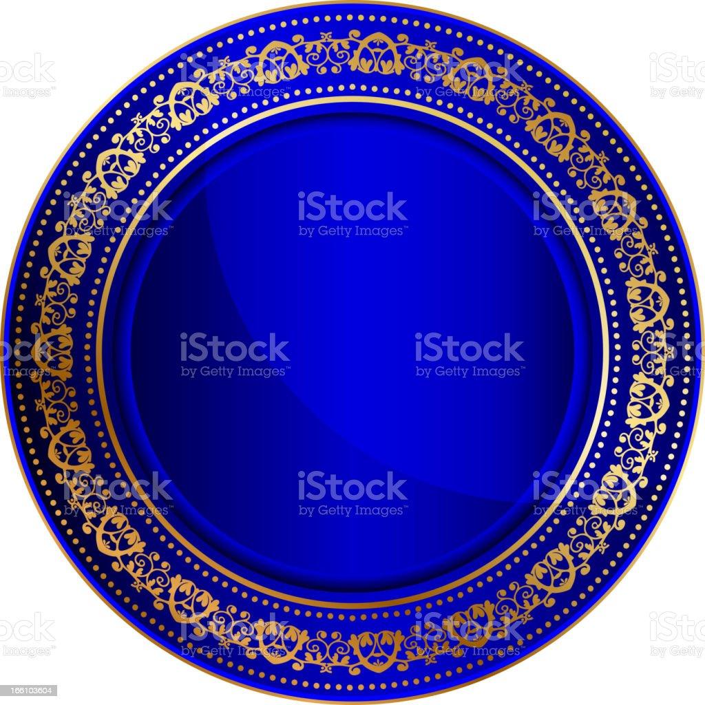 Blue oriental tray royalty-free stock vector art