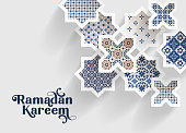 Blue ornamental arabic tiles, patterns through white cut out stars, long shadows. Greeting card, invitation for Muslim holiday Ramadan Kareem. Vector illustration bacground, web banner, modern design.
