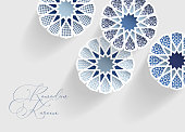 Blue ornamental arabic tiles, patterns through white cut out stars, long shadows. Greeting card, invitation for Muslim holiday Ramadan Kareem. Modern vector illustration bacground, web banner.