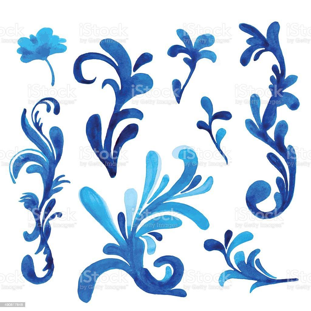 blau verziert schn rkel vektorillustration handgezeichnete verzierung vektor illustration. Black Bedroom Furniture Sets. Home Design Ideas