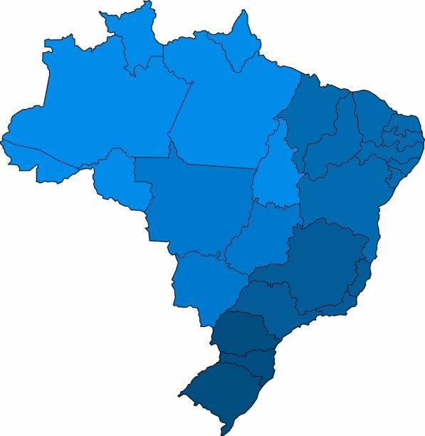 ilustrações, clipart, desenhos animados e ícones de mapa azul de brasil do esboço no fundo branco. ilustração do vetor. - brazil map