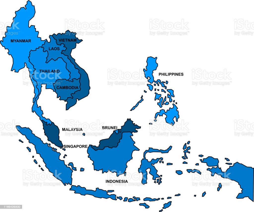 Picture of: Blue Outline South East Asia Map On White Background Vector Illustration Stock Illustration Download Image Now Istock