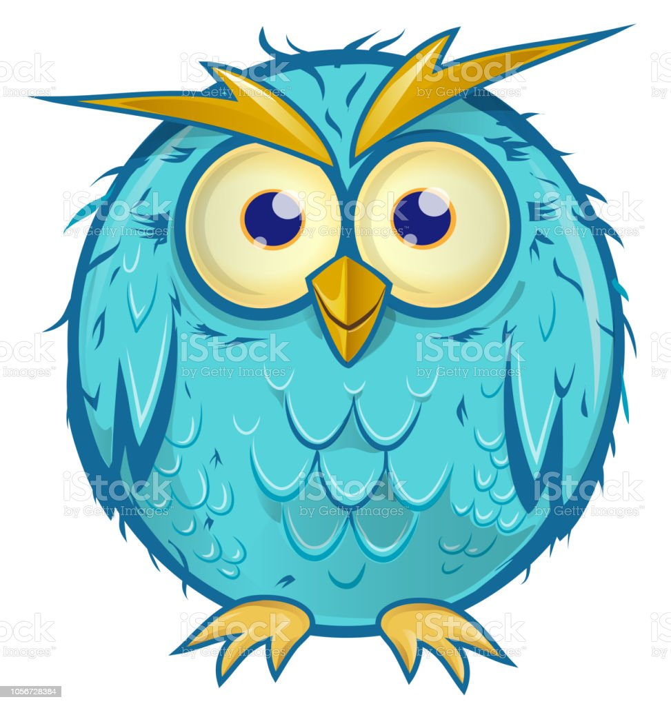 blue owl cartoon isolated on white background vector art illustration