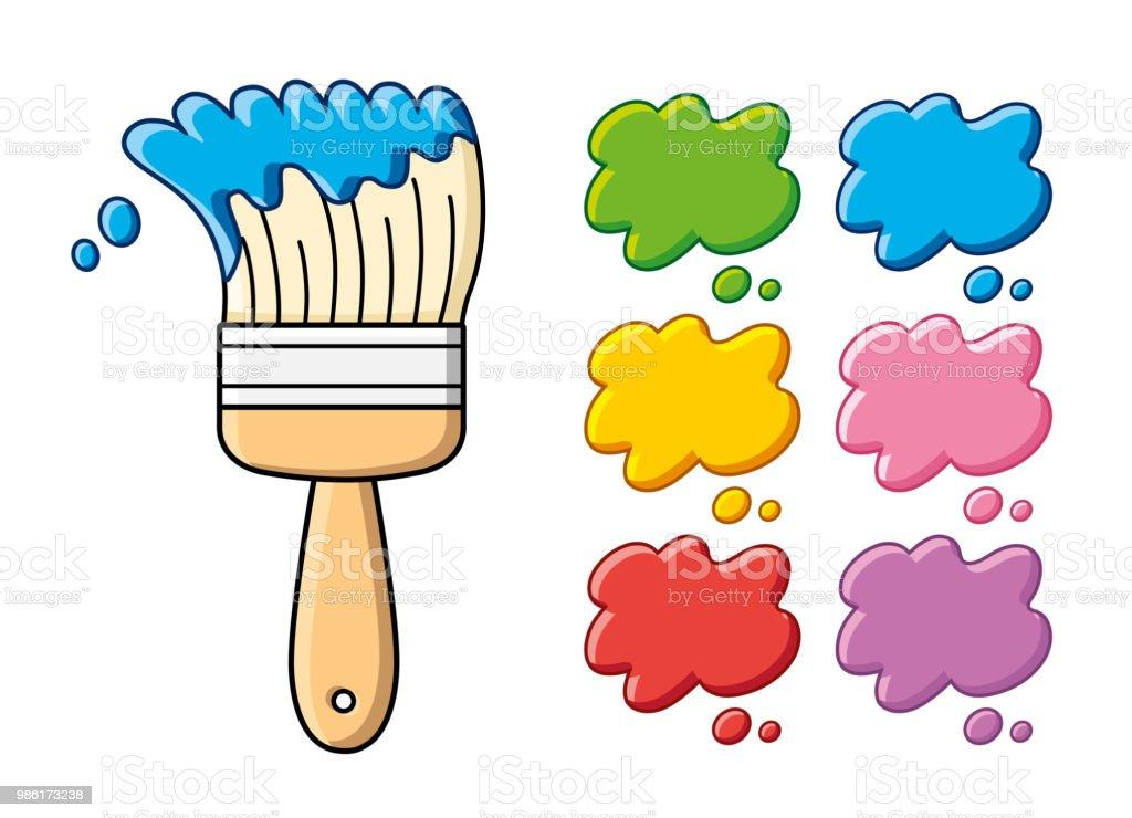 Blaue Farbe Pinsel Und Farbe Palette Farbfelder Stock ...