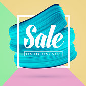 Blue paint brush background and sale in frame isolated on bright colors. Vector abstract promo banner for shop in social media.