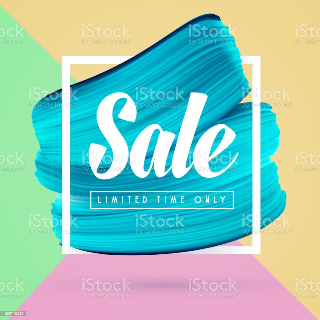 Blue paint brush background and sale in frame isolated on bright colors векторная иллюстрация