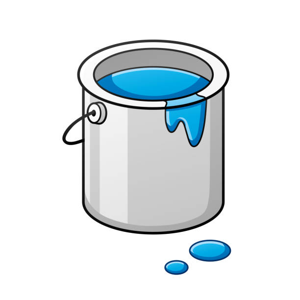 Blue paint bucket Blue paint bucket can isolated paint can stock illustrations