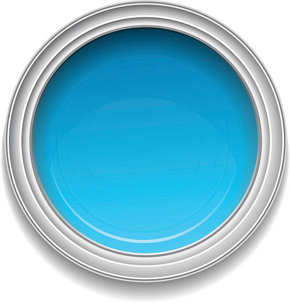 Blue paint can Blue paint can on white background. paint can stock illustrations