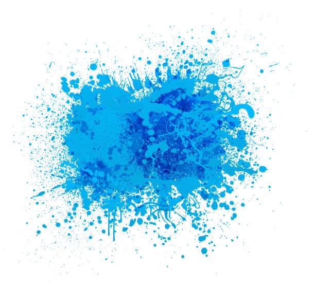 Blue paint splash vector art illustration