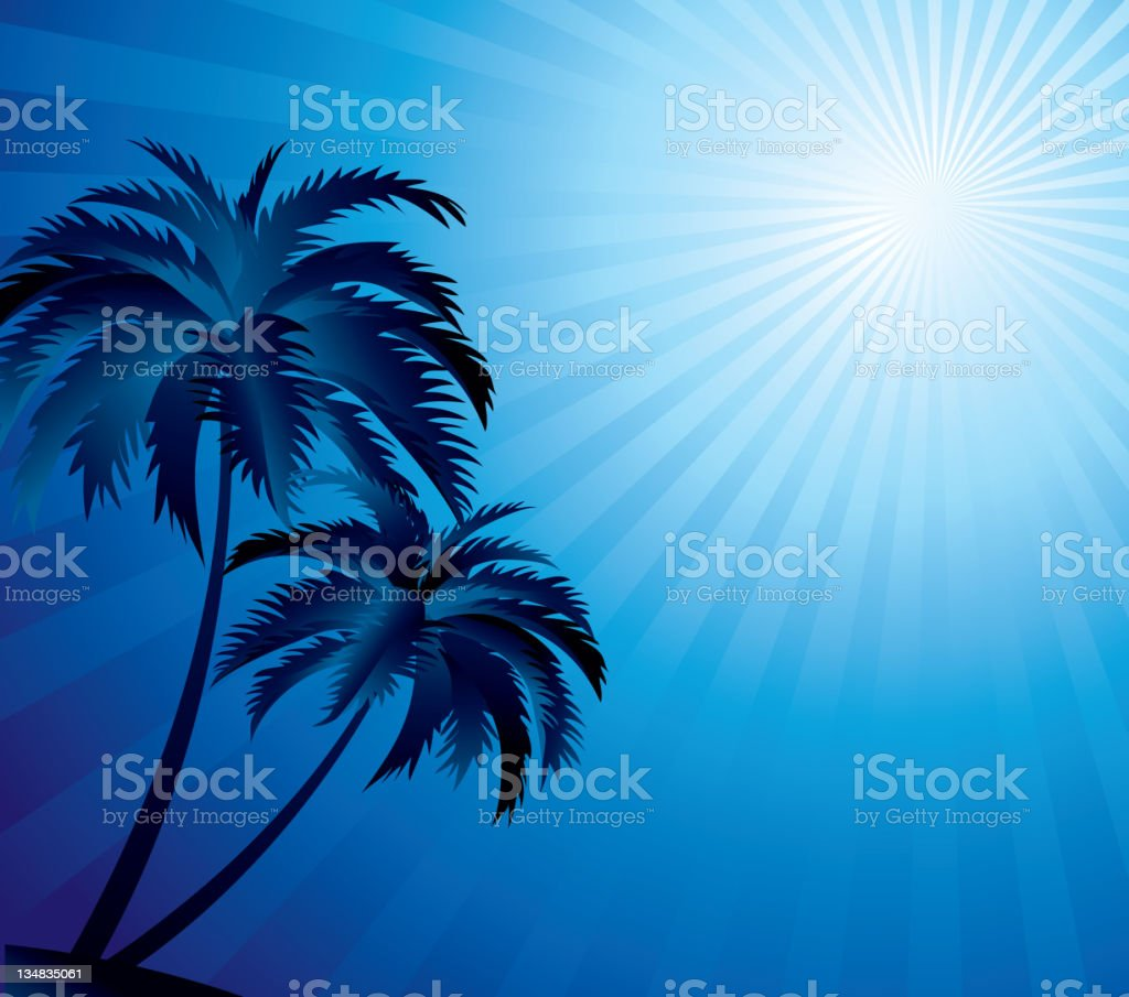 Blue palm and rays background royalty-free stock vector art