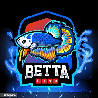 Blue panda betta fish mascot.     design