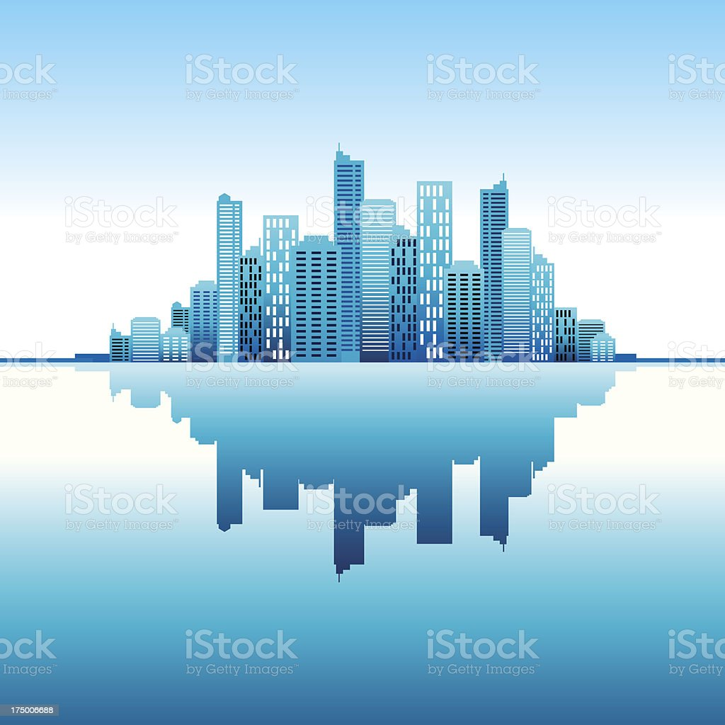blue panorama city  vertical background vector art illustration