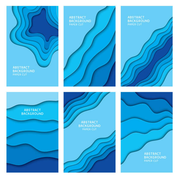 blue paper cut backgrounds - blue silhouettes stock illustrations