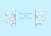 Realistic shine Banner with place for text template. Paper cut snowflakes decoration background.