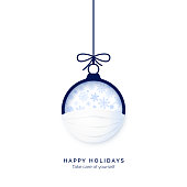 Blue paper cut Christmas ball in face mask. Be happy and take care of yourself in holidays. Merry Christmas and happy Hew Year concept. vector