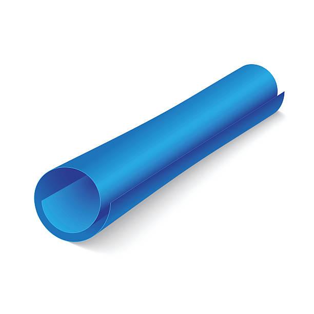Blue paper roll on white vector art illustration