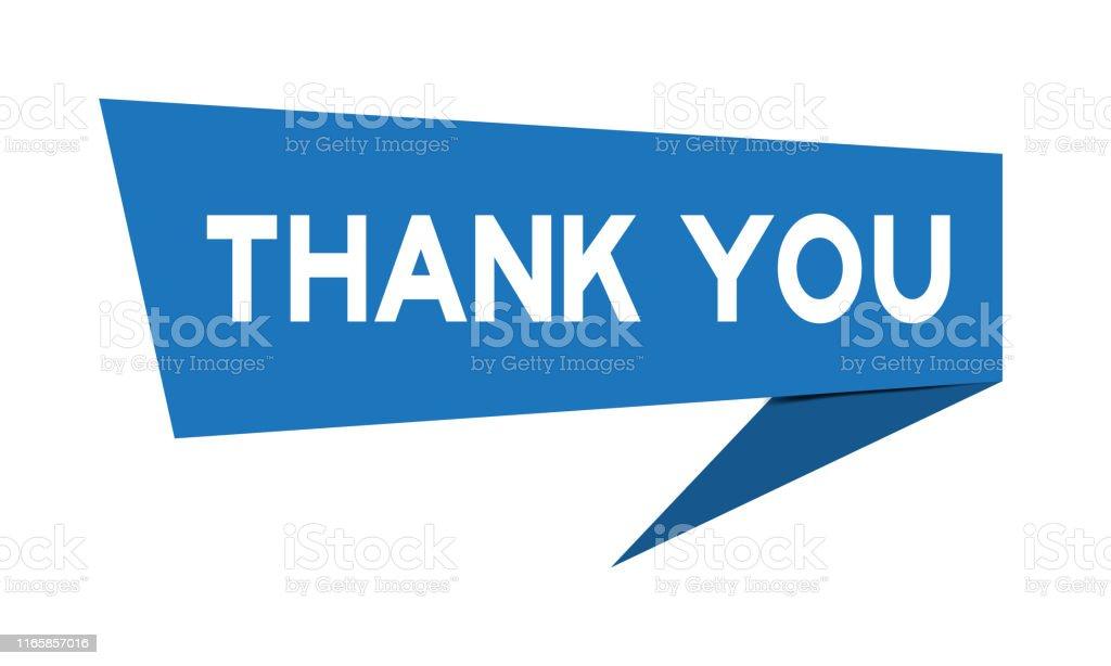 Mavi kağıt konuşma Banner kelime ile beyaz arka plan üzerinde teşekkür ederiz (vector) - Royalty-free Alıntı - Yazı Vector Art