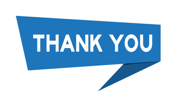 blue paper speech banner with word thank you on white background (vector) - thank you stock illustrations