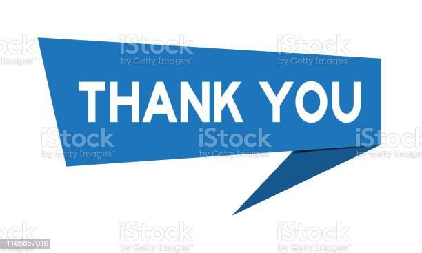 Mavi Kağıt Konuşma Banner Kelime Ile Beyaz Arka Plan Üzerinde Teşekkür Ederiz Stok Vektör Sanatı & Alıntı - Yazı'nin Daha Fazla Görseli