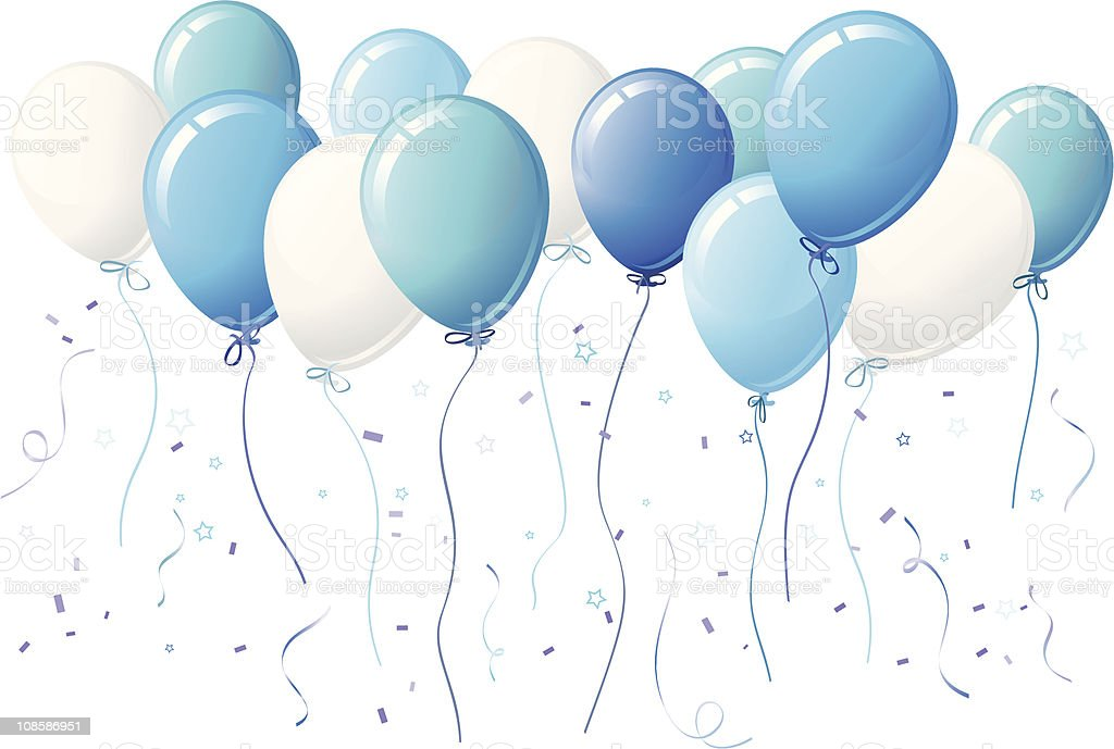 Blue Party Balloon with Stars and Confetti vector art illustration