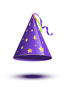 Blue party cane cap with golden stars isolated on white background. Vector holiday elements.
