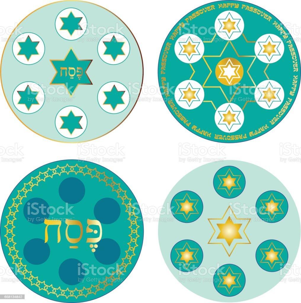 blue passover seder plates vector art illustration