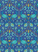 Blue pattern with birds.