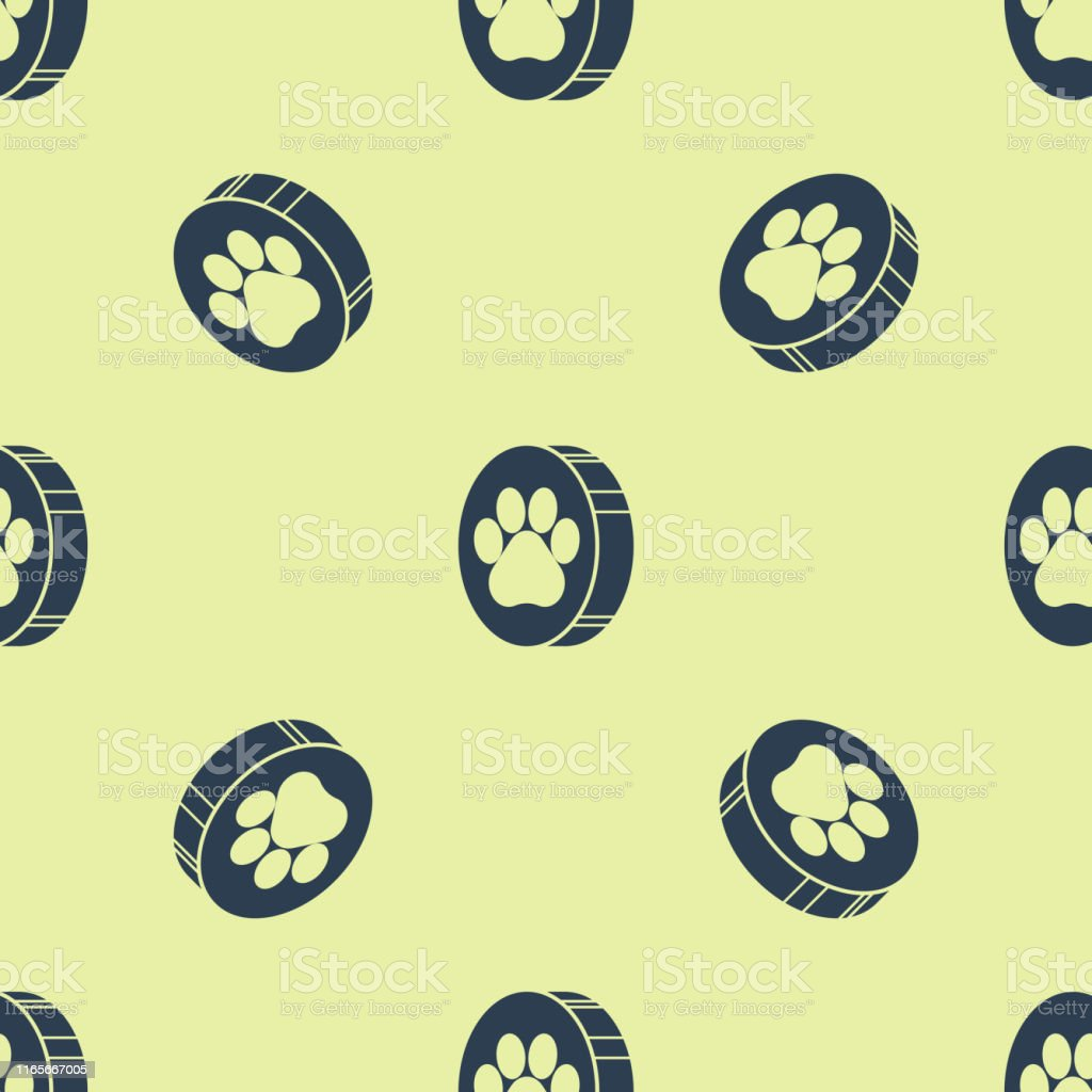Blue Paw print icon isolated seamless pattern on white background....