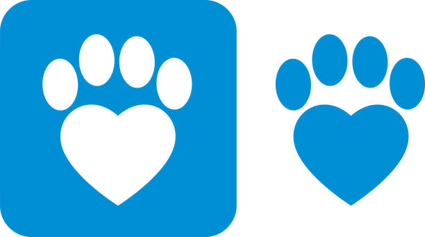 Blue Paw Print Icons Vector illustration of two blue paw print icons. paw stock illustrations