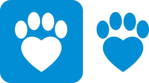 stockillustraties, clipart, cartoons en iconen met blauwe paw print pictogrammen - zoogdieren met klauwen