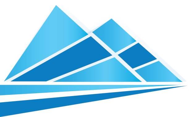 blaue spitze berge und straße symbol vektor - landschaftstattoo stock-grafiken, -clipart, -cartoons und -symbole