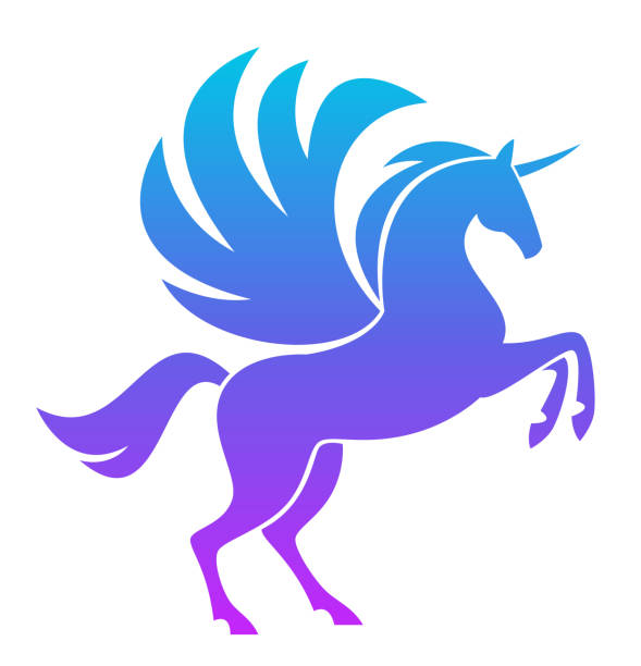 blue pegasus - pegasus stock illustrations