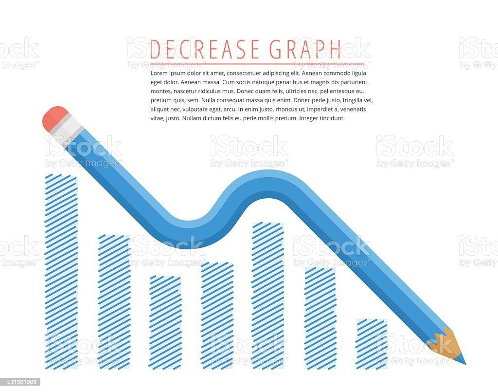 Blue pencil as decreasing graph arrow vector art illustration