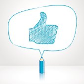 Blue Pencil with Reflection Drawing Thumbs Up Symbol in irregular shaped Speech Bubble on Pale Background