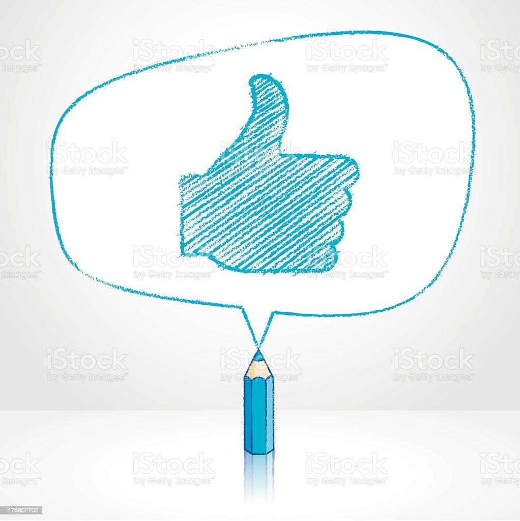 Desenho de Lápis azul de ícone em formato Irregular discurso de balão - ilustração de arte em vetor