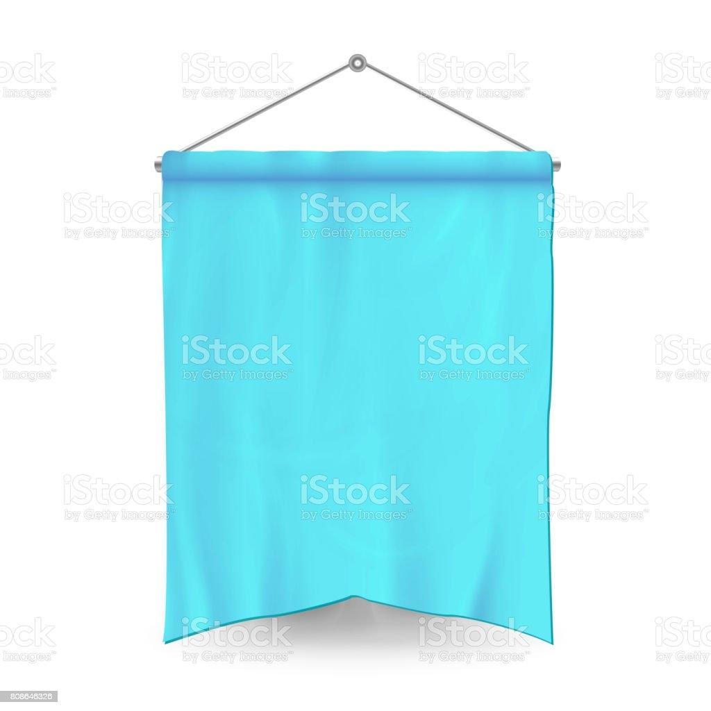 Banderín azul plantilla Vector. Vacío banderín 3D bandera en blanco. Forma clásica - ilustración de arte vectorial