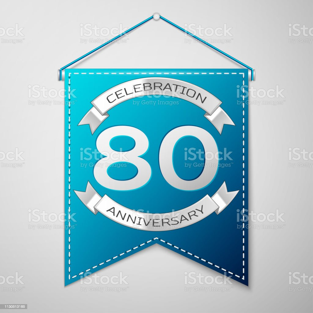 Blue pennant with inscription Eighty 80 Years Anniversary Celebration Design over a grey background. Silver ribbon. Colorful template elements for your birthday party. Vector illustration vector art illustration