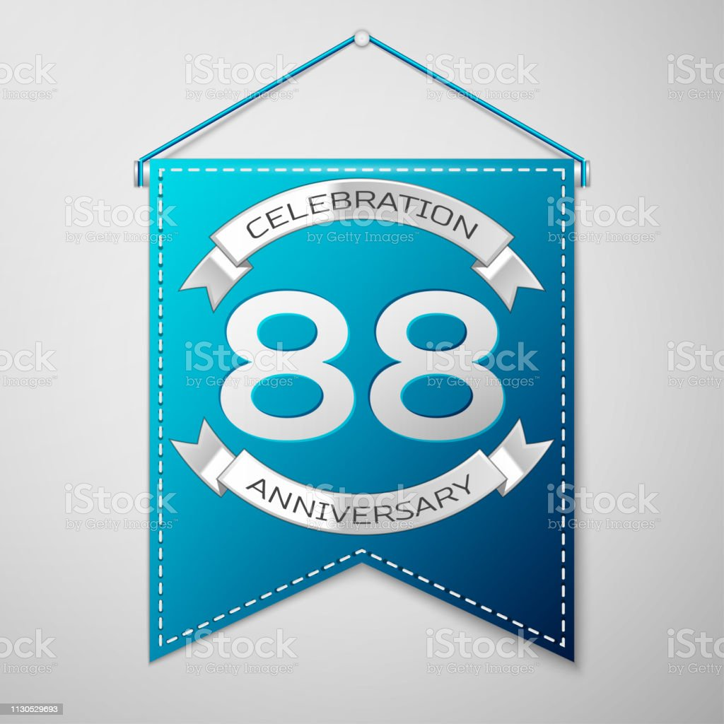 Blue pennant with inscription Eighty eight 88 Years Anniversary Celebration Design over a grey background. Silver ribbon. Colorful template elements for your birthday party. Vector illustration vector art illustration