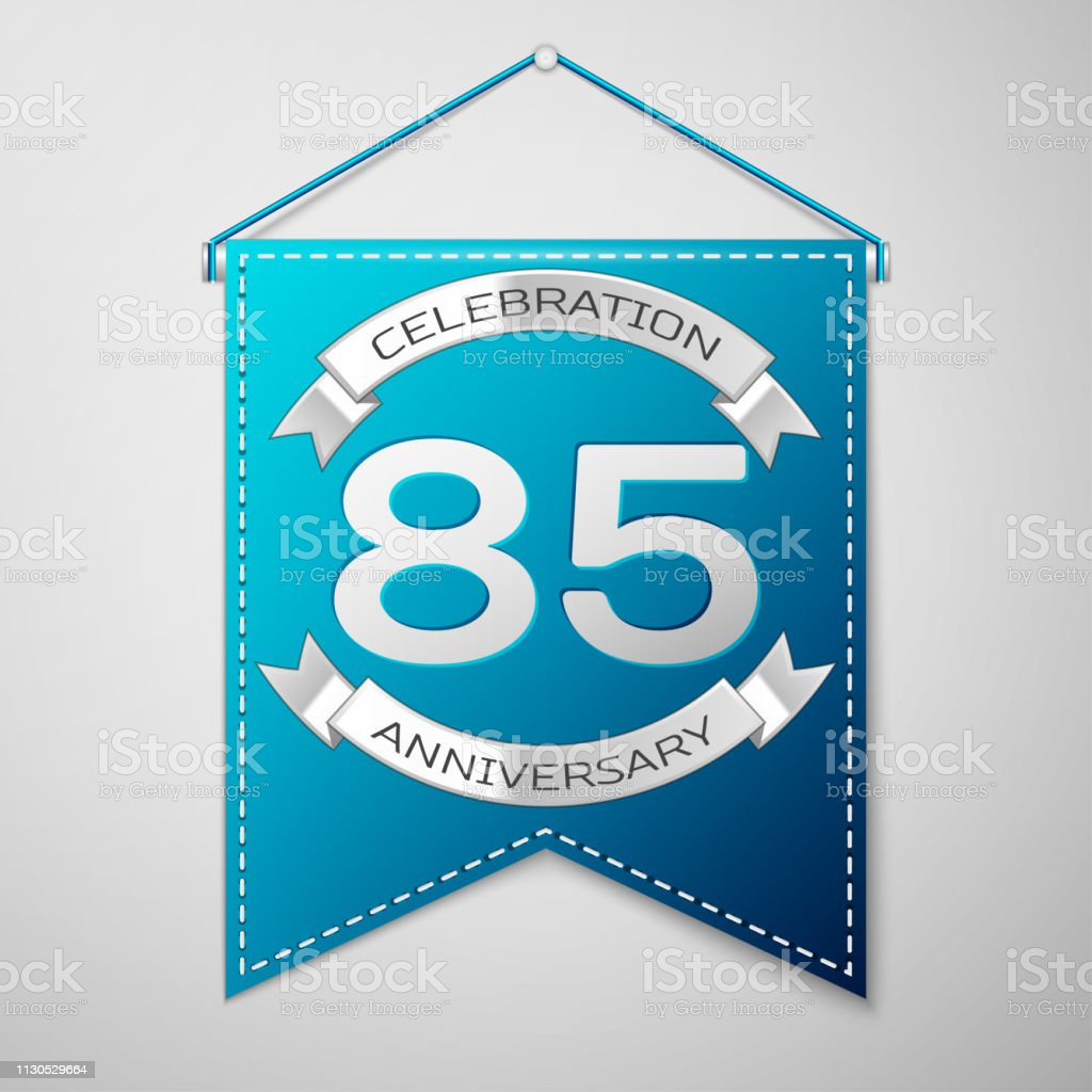 Blue pennant with inscription Eighty five 85 Years Anniversary Celebration Design over a grey background. Silver ribbon. Colorful template elements for your birthday party. Vector illustration vector art illustration