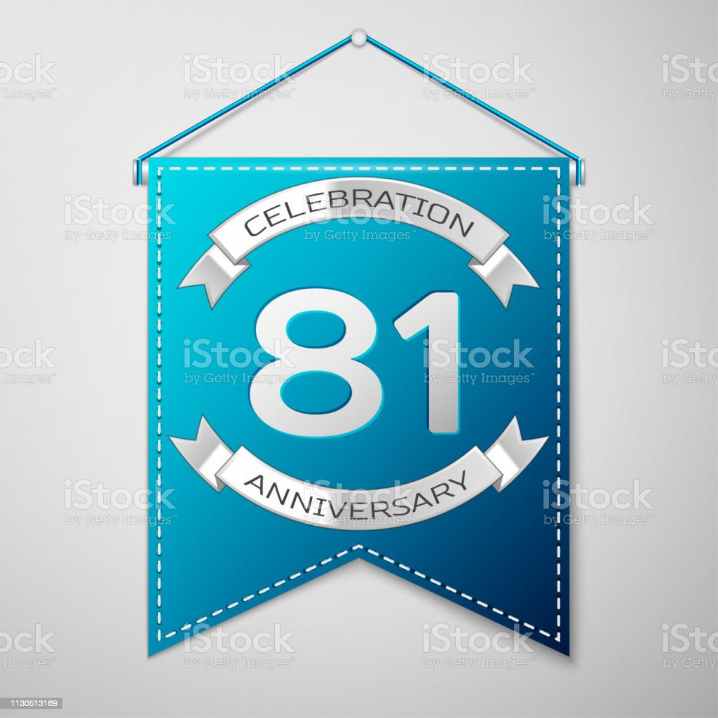 Blue pennant with inscription Eighty one 81 Years Anniversary Celebration Design over a grey background. Silver ribbon. Colorful template elements for your birthday party. Vector illustration vector art illustration